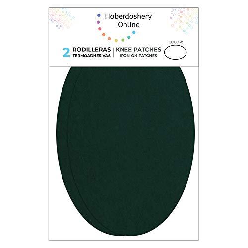 2 rodilleras de Ante color Verde termoadhesivas para planchar. Coderas para proteger tu ropa y reparación de pantalones, chaquetas, jerseys, camisas. 16 x 10 cm. Ref. 94 verde