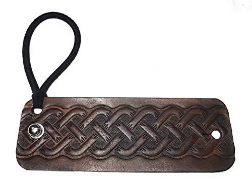 Handmade Dark Brown Leather Celtic Knot Viking Hair Wrap Ponytail Holder