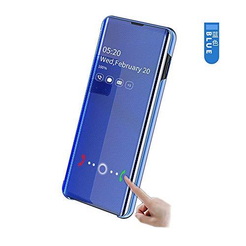 hyujia Compatible para Xiaomi Redmi Note 7/7Pro Funda 2019/Carcasa Inteligente Fecha/Hora Ver Espejo tirón del Caso Soporte Plegable/Slim Shell Teléfono Case Cover para Xiaomi Redmi Note 7 Azul
