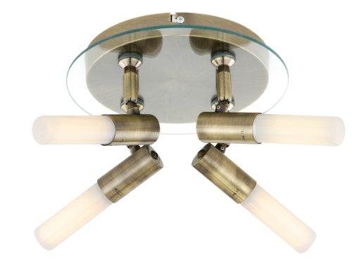 TP24 Roseau Aufgabe, 4 Wege Deckenleuchte in Messing-Antik-Optik mit Klarglas Detail LED Strahler mit Satiniertem Rohr