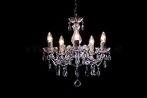 Kronleuchter Maria Theresa 5 flammig Chrom - Ø45cm Venezianischen Glas - Klassisches Lüster Silberfarbe 5 Armig