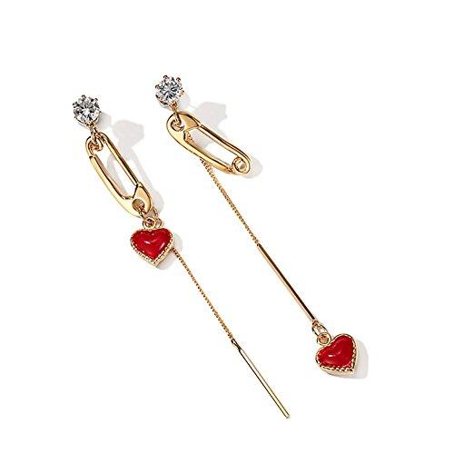 Boucles d'Oreilles Asymmetric Small Love, Boucles d'Oreilles Pendentif Plaqué Or Rouge Tassel Femme , gold