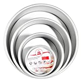 Round Cake Pans, OAMCEG 4 Pcs (4'/6'/8'/10'') Round Aluminum Cheesecake Pan with Removable Bottom, Professional Nonstick & Leakproof Round Baking Pans Layer Cake Pans Tin
