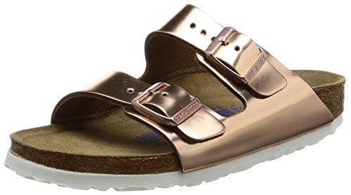 BIRKENSTOCK Damen Arizona Leder Softfootbed Pantoletten, Braun (Metallic Copper), 43 EU