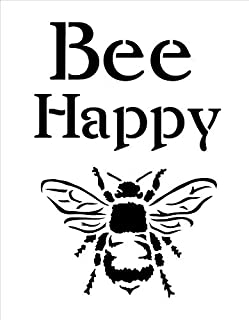 Bee Happy Stencil by StudioR12   Fun Spring Garden Word Art - Reusable Mylar Template   Painting, Chalk, Mixed Media   Use for Crafting, DIY Home Decor - STCL1171_1 …SELECT SIZE (9