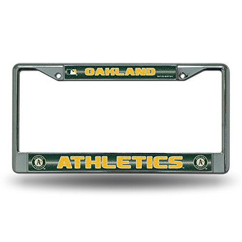 Rico MLB Oakland Athletics Bling License Plate Frame, Chrome, 12 x 6-Inch