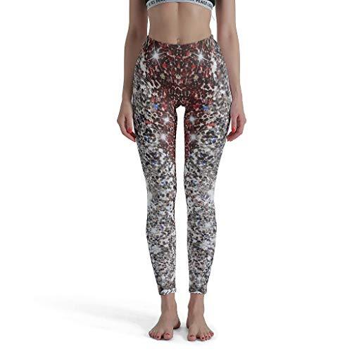 Bannihorse Pushup Leggings voor dames, Galaxy glitter-spiegel, fitness, high waist enkelang, ondoorzichtige tights 34 sportbroek