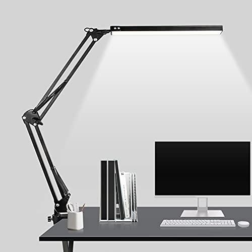 Flexo LED Escritorio Regulable - 12W Lámpara Escritorio LED con Brazo Ajustable,Plegable, 3 Temperaturas de Color,Protección Ocular,Lámpara de Escritorio para Oficina,Lectura,Estudio