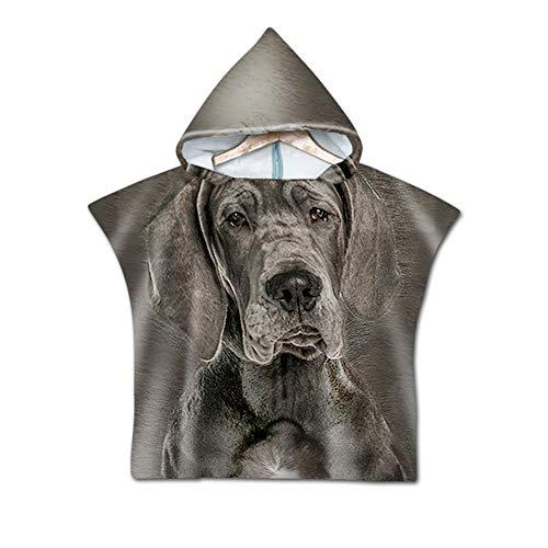 NAID Unisex Funny Dog Print Beach Handdoeken Kinderen Microvezel Hooded Badhanddoeken Poncho Badjas 80 * 60cm