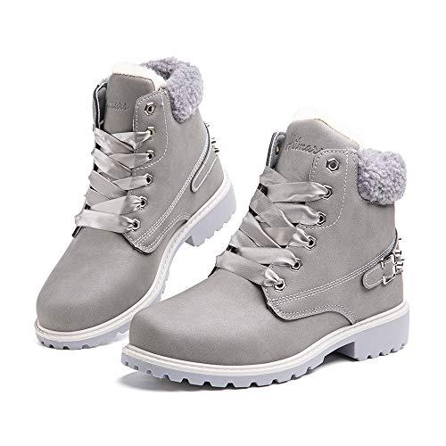 Botas Mujer Invierno Botas de Nieve Cálido Zapatos Botines Forradas Planas Snow Boots Antideslizante Calzado Comodos Cordones Gris-1 39 EU