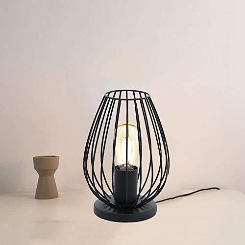 Lámpara de mesa moderna de metal negro estilo jaula, Lámpara de escritorio de alambre de hierro de estilo nórdico, Luz nocturna con iluminación decorativa para dormitorio (A)