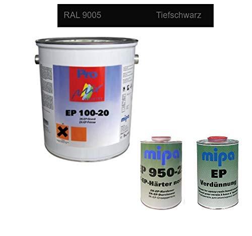 SET Mipa 2K EP 100-20 Grundierung Epoxi Epoxidharz Color + Härter + Verdünnung 8 kg (Tiefschwarz)
