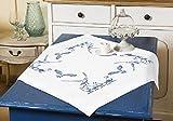 Kamaca Stickpackung MÖVEN AM Meer Tischdecke 80x80 cm Stielstich Spannstich vorgezeichnet Baumwolle komplettes Stickset mit Stickvorlage