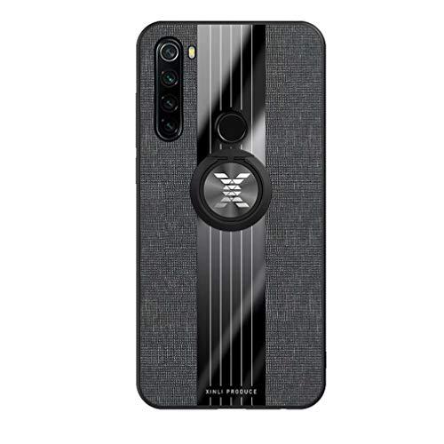 Ttimao Kompatibel mit Xiaomi Redmi Note 8 Hülle 360 ° Drehringständer Ultra Dünn Stoff strukturiertes Muster Schutzhülle+1*Displayschutzfolie Anti-Kratz Handyhülle-Schwarz