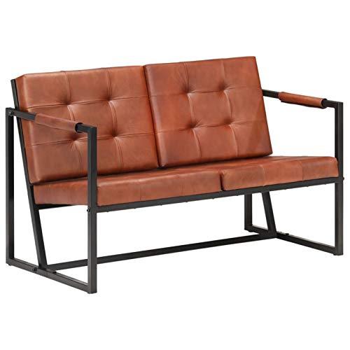 pedkit Sofás de salón Sofá de 2 plazas Cuero auténtico de Cabra marrón