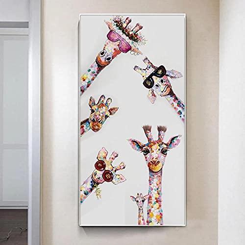 PGMZQHGF Color Graffiti Art Animal Curious Jirafa Mural Poster Habitación de los niños de la Familia Dormitorio Decoración de la Pared Arte de la Lona   60x120cm Sin Marco