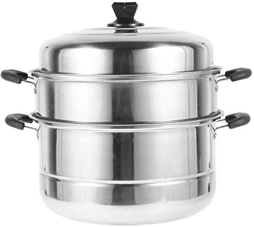 Stainless Steel Steamer Pot and Stock Pot Set, 2&3 Tier Cooking Food Pots with Heat-resistant handle, Steam Soup Pot Steamer Home Kitchen (Three layers, 30CM)