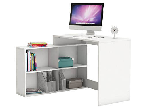 möbelando Eckschreibtisch Schreibtisch Arbeitstisch Bürotisch Tisch Dewirovo I (Weiß)