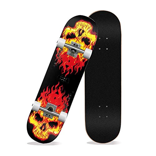 TDRTECH TDRTCH Skateboards 31quot x 8quot Pro Skateboard Complete Durable 8 Layer Maple Skateboard for Extreme Sports and Outdoors Adults Teens Youths Beginners Girls Boys Kids Red Flame