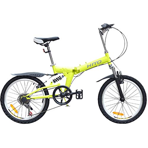 SHUANGA 20 Zoll leichtes Mini Faltrad Kleines tragbares Fahrrad Erwachsener StudentEinfach faltbares 20-Zoll-Mountainbike mit Doppel-V-Bremsanlage