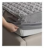 YUDEYU Tagesdecken Blätter Grau Gewaschener Baumwollstoff Tagesdecke Matratzenbezug (Size : 90x200cm/high 16-25cm)