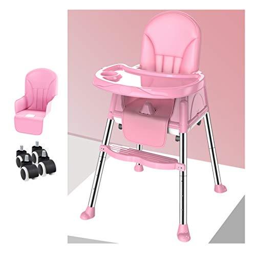 Kinderstoel, 2 in 1 met afneembare verstelbare kinderstoel lade met de voertuigfunctie voor eten, kamperen, strand, gazon Pink-A