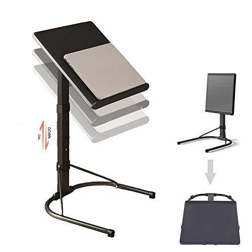 NICEME Mesa para ordenador portátil, altura regulable, plegable, mesa auxiliar para cama, sofá, exterior, ligera y portátil, tamaño de 43 x 43 cm (color: negro)
