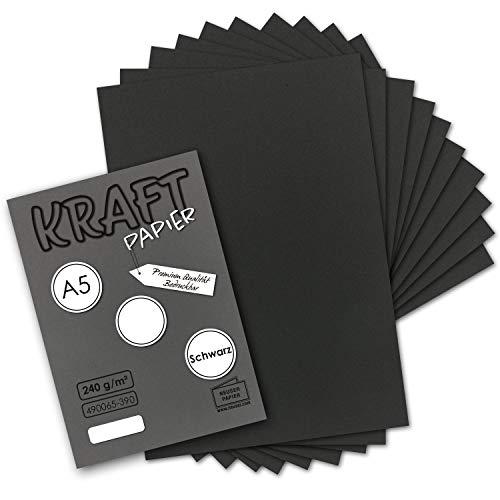 50x Vintage Kraftpapier in Schwarz - DIN A5-21 x 14,8 cm - 240 g/m² schwarzes Recycling-Papier, 100% ökologisch Bastel-Karton Einzel-Karte - NEUSER PAPIER