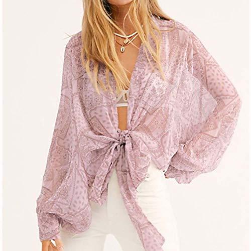 Yyh Dames-chiffon- Kimono Cardigans- Lose sjaal afdekking blouse voor dames bloemenprint Halmouwen geopend voorste gebreid vest zomer retro strand-verflakking Small 7