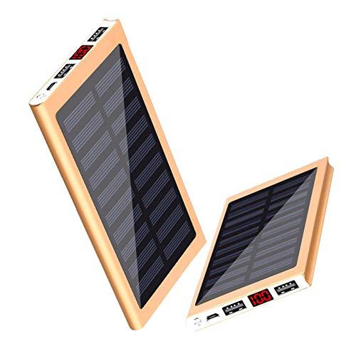Hummla Solar Power Bank Batería Externa 2 USB LED 30000mah Powerbank Teléfono móvil portátil Cargador Solar para Xiaomi mi iPhone XS 8plus, Azul