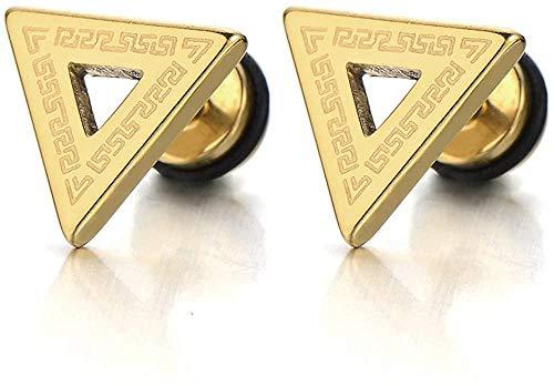 NC188 Pendientes de botón de triángulo de Oro para Hombre de Acero Inoxidable con patrón de Llave Griega Tornillo Trasero 2pcs-01