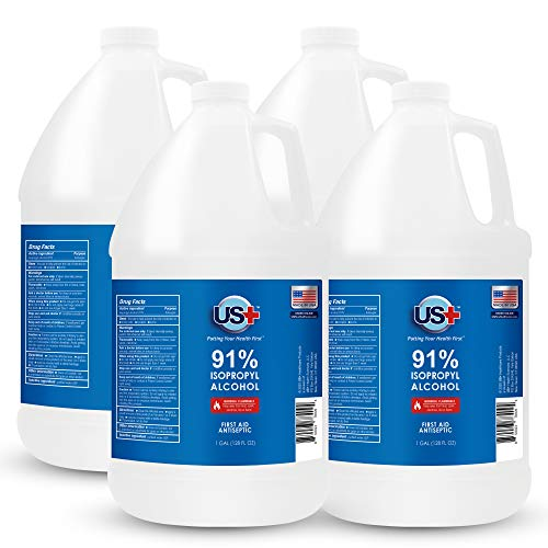4 Gallons US+ 91% Isopropyl Alcohol (1 Gallon x 4) - USP/Medical Grade - FDA Registered - Made in USA