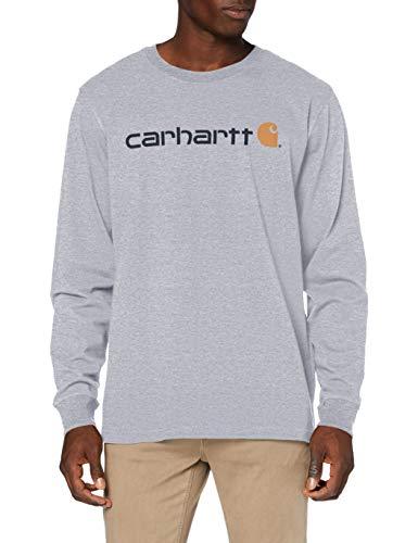 Carhartt Long-Sleeve Workwear Signature Graphic T-Shirt-Core Logo, Heather Grey, M Uomo