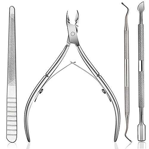 4 Stück Nagelhautschieber Set HUDDU Nagelhautpflege Edelstahl Nagelhautentferner für Fingernägel und Zehennägel