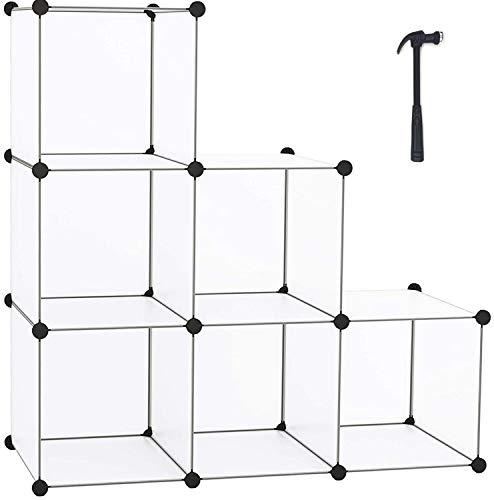 HOMIDEC 6-Cube Transparent Cube Storage Organizer, Modular Storage Shelf with Hammer, Cube Storage Bin Cabinet Closet Bookshelf for Living Room, Bedroom, Office, Each Cube Size 11.8 x 11.8 inch
