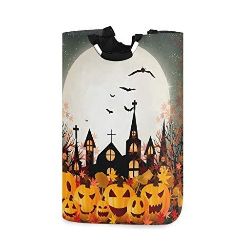 Cesta de ropa de otoño de calabaza de Halloween Hojas de arce Bat Moon Cesto de ropa plegable con asas Cubo de ropa resistente al agua Cubo de lavado Cestas sucias Almacenamiento de juguetes para el h