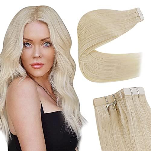 Easyouth Extension Tape on Human Haar for Women Farbe Platinblond 12 Zoll 30 cm Naturhaar Klebeverlängerung 30 g pro Packung Brasilianisches Haar