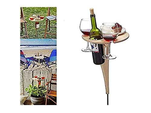 Weintisch im Freien Tragbarer Picknicktisch im Freien, Tragbarer Weintisch im Freien, Weintisch Im Freien Mit Flaschenhalter, Faltbarer r&er Mini-Picknicktisch aus Holz Für Den Garten,Camping (A)
