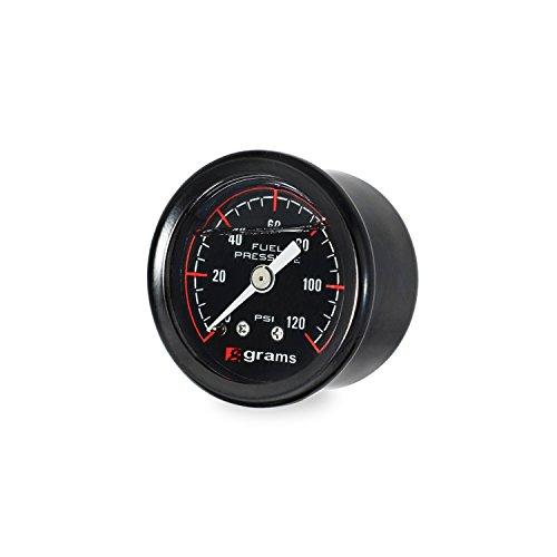 Grams Performance 120psi Fuel Pressure Gauge Blk Face G2-99-1200, Black