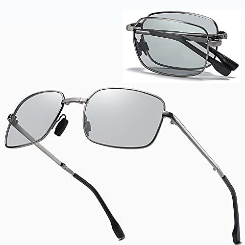 YYMM Gafas de Sol foldocromáticas, Gafas de Sol plazas Plegables UV, Hombres polarizados decoloración Gafas de Sol, para Hombres Mujeres conducen, Viajes