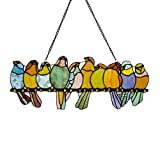 stained glass birds window panel - River of Goods Birds on a Wire 9.5 Inch High Stained Glass Suncatcher Window Panel, Pastel