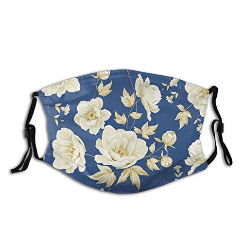 Big White Flower On Vintage Blue Background Face Mask, Printed Flower Masks, Dust Masks, Balaclavas, Adult Masks With 2 Filters And Adjustable Ear Straps.