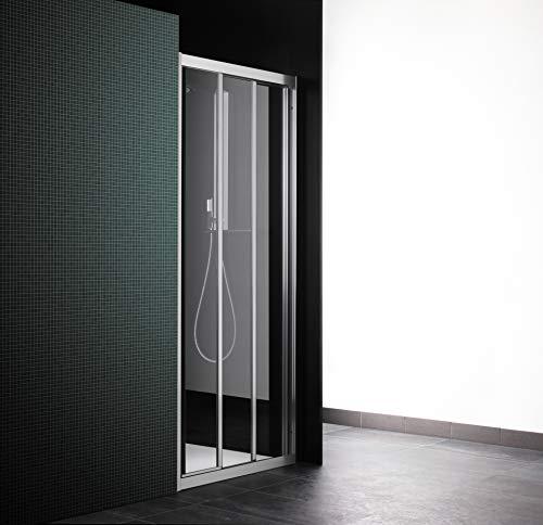 Douchecabine met 3 deuren, 81 cm, transparant glas, van aluminium, wit (uittrekbaar 75-81)