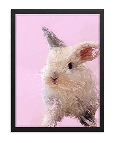 Hilltop Pixel Rabbit Framed Wall Art Print, Beautiful Bunnie Painting, Pet Animal Home Decor Gift (8Wx10L, Black Frame)
