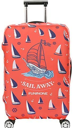 Suitcase Cover Marine Sailboat Pattern Travel Luggage Cover Suitcase Protector Fits for 26-28 Inch Luggage (L) Cartoon Luggage Trolley Case Protective Cover