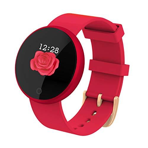 BNMY Smartwatch Mujer Reloj Inteligente Pulsera De Actividad Impermeable Pulsómetros Elegante Reloj Inteligente Fitness Reloj Metal Monitoreo del Sueño Notificación Compatible con Android iOS,Rojo