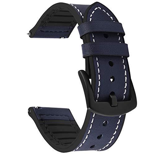 Fullmosa Correa de Reloj de liberación rápida 22 mm, Correas de Reloj híbridas de Cuero y Silicona para Galaxy Watch (46 mm), Huawei Watch 2, Moto 360 2nd Gen 46 mm, Garmin Watch, Azul Oscuro