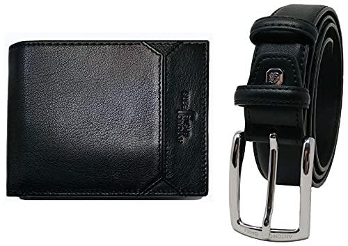 ANTONIO BASILE Juego de regalo para hombre,  cinturón y cartera de piel,  billetera para hombre,  niño,  slim