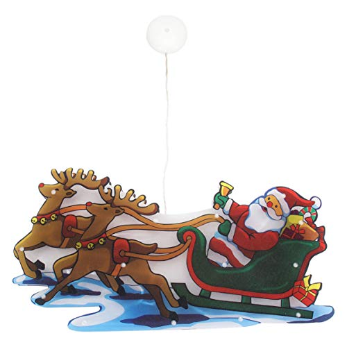 ABOOFAN LED Weihnachtsbeleuchtung mit Saugnapf Frohe Weihnachten Rentier Schlitten Muster Fensterlicht Nachtlicht für Innen Fenster Weihnachtsbaum Dekoration Weihnachtsdeko Batteriebetriebene