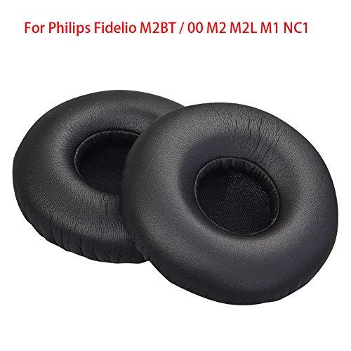 Over-Ear oordop lederen hoesje oortelefoon Sponge Cover, vervanging-compatibel met Philips Fidelio M2Bt / 00 M2, M2L, M1, Nc1, Zwart